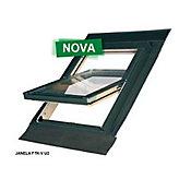Janela para Telhado de Vidro Duplo Madeira Alumínio, 55x98cm