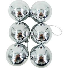 Esferas 6 cm plata brillo x12