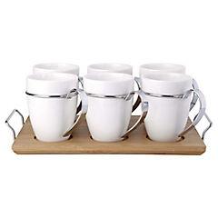 Set de 6 tazas de café porcelana con base
