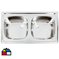Lavaplatos Acero con Rebalse 2 Cubetas 80 x 51 cm