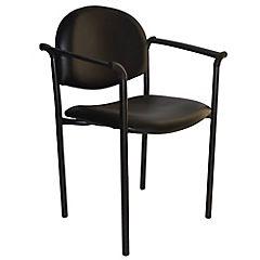Silla con brazos tapizada Confort Ecocuero negro