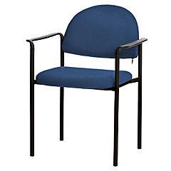 Silla con brazos tapizada Confort Ecocuero azul marino