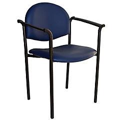 Silla con brazos tapizada Confort Ecocuero azul