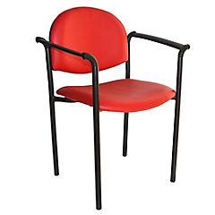 Silla con brazos tapizada Confort Ecocuero rojo