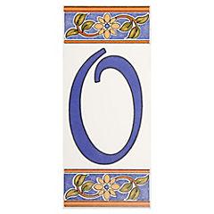 Número 0 de cerámica 6.5 x 15 cm