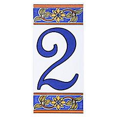 Número 2 de cerámica 6.5 x 15 cm