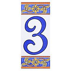Número 3 de cerámica 6.5 x 15 cm