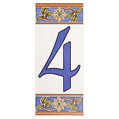 Número 4 de cerámica 6.5 x 15 cm
