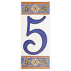 Número 5 de cerámica 6.5 x 15 cm