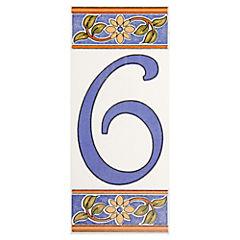 Número 6 de cerámica 6.5 x 15 cm