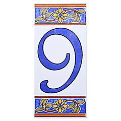 Número 9 de cerámica 6.5 x 15 cm