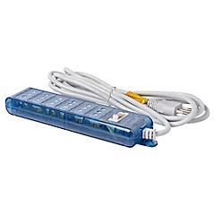 Alargador 6 tomas 3 metros, azul transparente