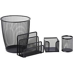 Set 4 piezas organización escritorio negro
