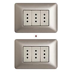 Combo 2 Interruptores triple 10A beige armado Matix