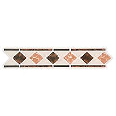 Set 4 unidades Listel Rombo Burdeo 5.5 x 26 cm