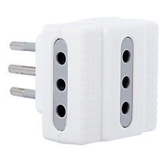 Adaptador triple 2p+t 10 A Blanco
