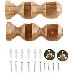 Soporte doble madera natural 19/28mm, 2 unidades