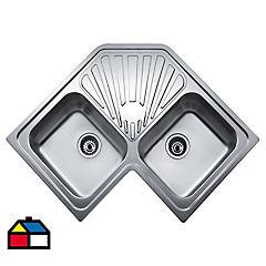 Lavaplatos 19x83x81 cm 2 cubetas acero inoxidable