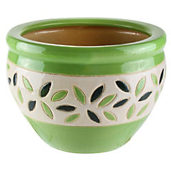 Macetero de cerámica 23x16 cm Verde