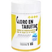 Cloro en tabletas para piscinas 1 kg frasco