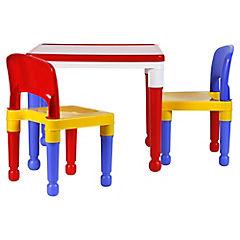 Mesa infantil con 2 sillas rojo amarillo azul for Mesa y silla infantil