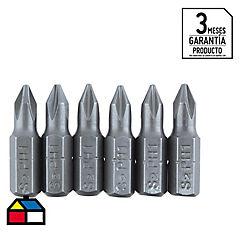 Puntas atornillador #1 de 25mm Phillip 6 unidades