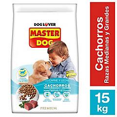 Alimento seco para cachorro 15 kg carne y leche