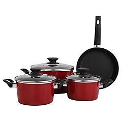 Batería de Cocina 7 Piezas Vitrificada Rojo