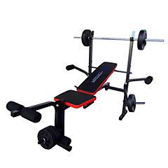 Banqueta de ejercicios con set de pesas negro