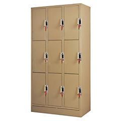 Lockers Moneda 3 cuerpos - 9 puertas, cerradura 2 llaves