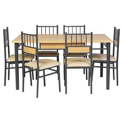 Juego de comedor 6 sillas beige for Sillas ergonomicas sodimac