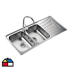 Lavaplatos 15,5x116x50 cm 2 cubetas acero inoxidable