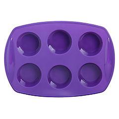 Molde para cupcakes silicona 6 espacios morado