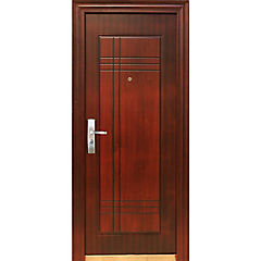 Puerta de seguridad Acero izquierda café 86x205cm