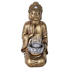 Buda portavela decorativo 16,5x20x36 cm poliresina dorado