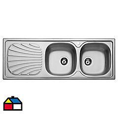 Lavaplatos empotrado 123,5 x 43,5 cm 2 cubetas acero inoxidable