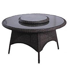 Mesa circular aluminio-ratán PE 144 cm
