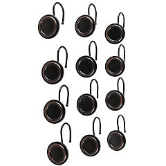 Set de ganchos para cortina de baño 12 unidades negro