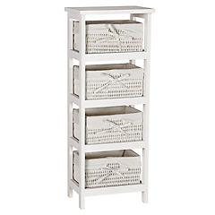 Gabinete madera 77x20x30 cm 4 cajones Blanco
