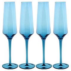 Set de 4 copas flute blue