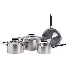 Batería de cocina 7 piezas acero inoxidable Plateado