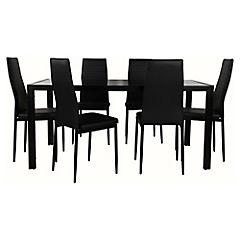 Juego de comedor 6 sillas negro