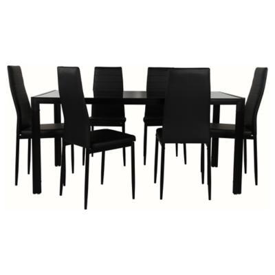 Juego de comedor 6 sillas negro for Sillas ergonomicas sodimac
