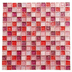Malla Mosaico 30.5 x 30.5 cm Vidrio Candy Pink