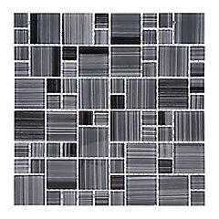 Malla Mosaico 30 x 30 cm Vidrio Line Dark/Grey