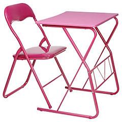 Escritorio con silla plegable morado