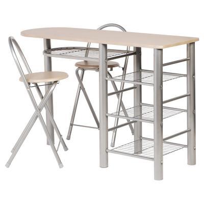 Comedor auxiliar 120x40x92 cm 2 sillas 3 repizas metalicas for Comedor de diario sodimac