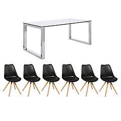 Juego de comedor Katrina 8 sillas Clara negro