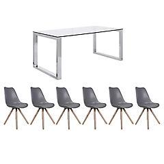 Juego de comedor Katrina 8 sillas Clara gris
