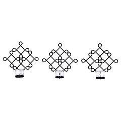 Set de candelabros 3 unidades negro